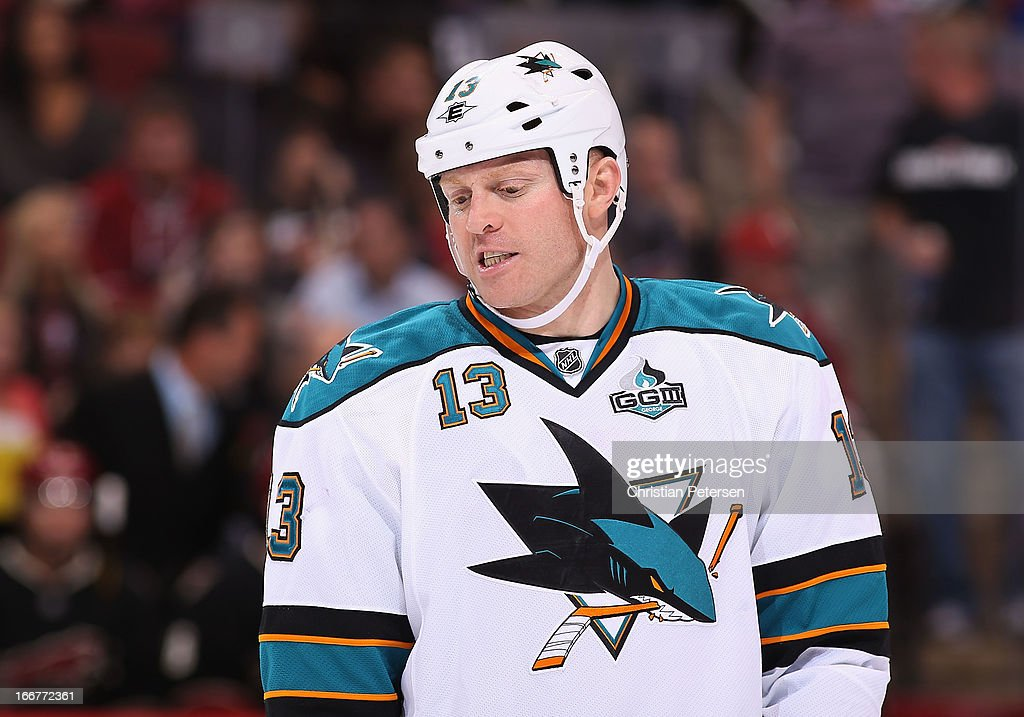 Raffi Torres of the San Jose Sharks during the NHL game against the Phoenix Coyotes at Jobingcom Arena on April 15 2013 in Glendale Arizona The...