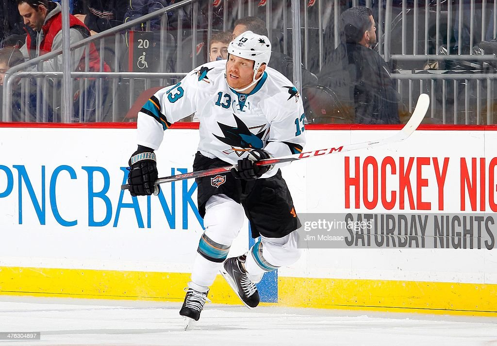 Raffi Torres of the San Jose Sharks in action against the New Jersey Devils at the Prudential Center on March 2 2014 in Newark New Jersey The Sharks...