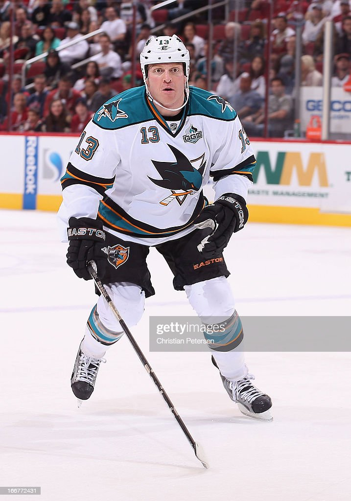 Raffi Torres of the San Jose Sharks in action during the NHL game against the Phoenix Coyotes at Jobingcom Arena on April 15 2013 in Glendale Arizona...