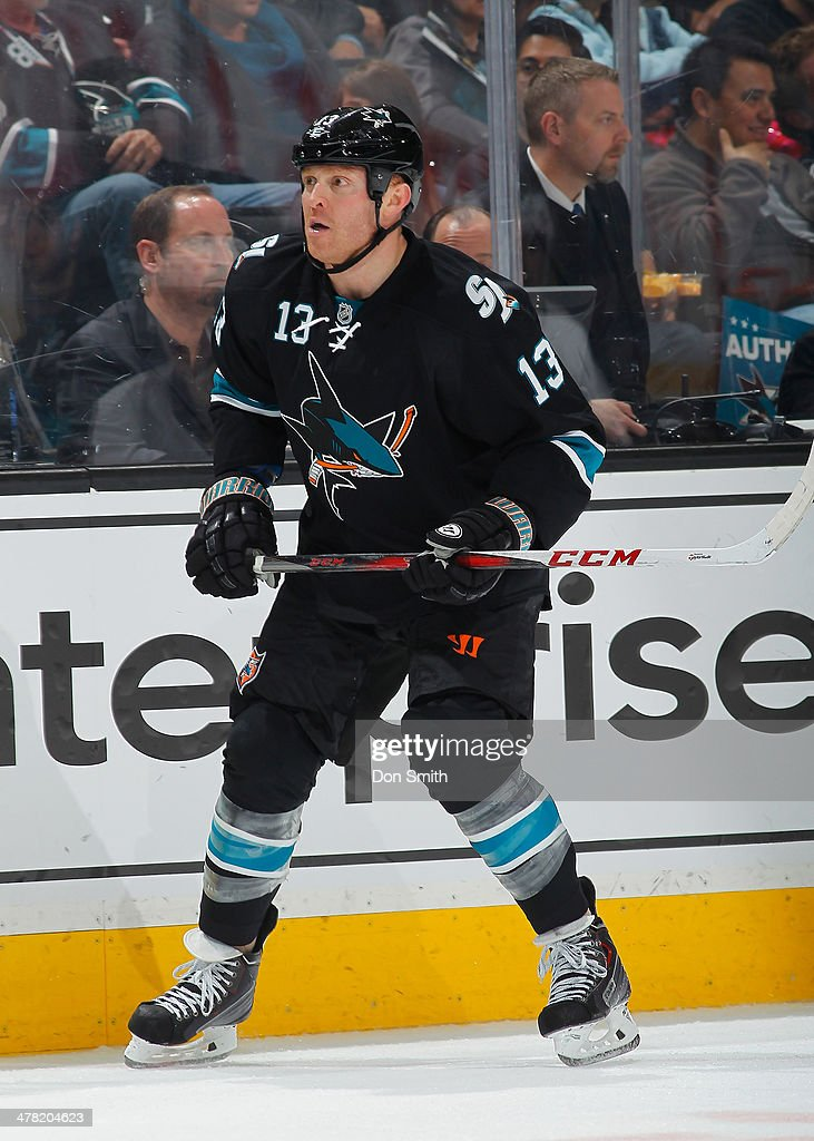 Raffi Torres of the San Jose Sharks skates after the puck against the Pittsburgh Penguins during an NHL game on March 6 2014 at SAP Center in San...