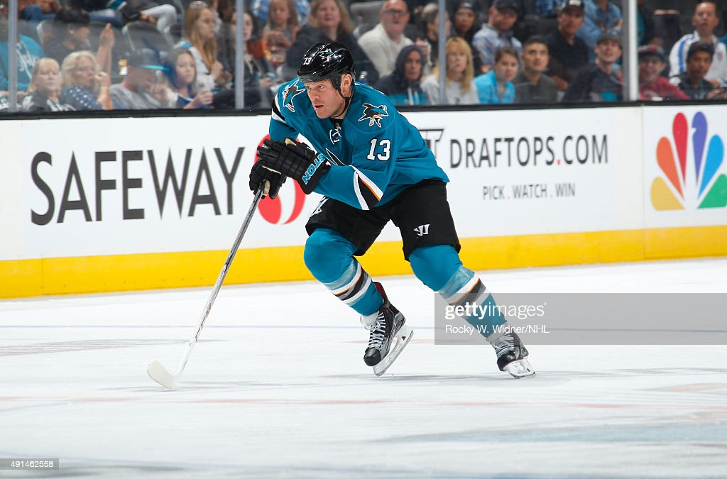 Raffi Torres of the San Jose Sharks skates after the puck against the Arizona Coyotes at SAP Center on September 25 2015 in San Jose California