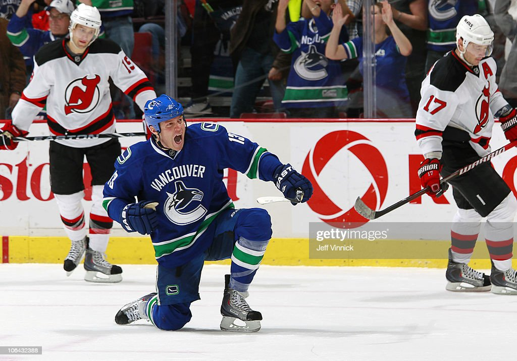 Raffi Torres of the Vancouver Canucks celebrates scoring a goal during the game at Rogers Arena on November 1 2010 in Vancouver British Columbia...