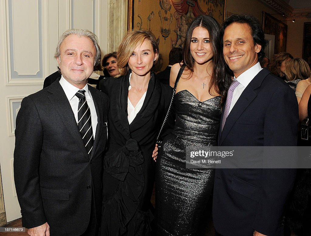 (L to R) Raffy Manoukian, Jo Manoukian, <a gi-track='captionPersonalityLinkClicked' href=/galleries/search?phrase=Kim+Johnson+-+Mannequin&family=editorial&specificpeople=14662642 ng-click='$event.stopPropagation()'>Kim Johnson</a> and <a gi-track='captionPersonalityLinkClicked' href=/galleries/search?phrase=Arun+Nayar&family=editorial&specificpeople=206480 ng-click='$event.stopPropagation()'>Arun Nayar</a> attend a dinner celebrating the launch of 'Valentino: Master Of Couture', the new exhibition showing at Somerset House from November 29, 2012 to March 3, 2013, at the Italian Embassy on November 28, 2012 in London, England.