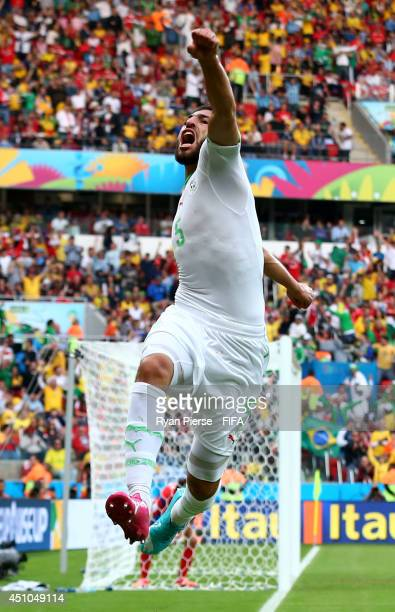 Rafik Halliche of Algeria celebrates scoring his team's second goal during the 2014 FIFA World Cup Brazil Group H match between Korea Republic and...