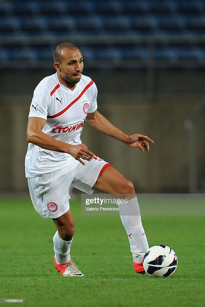 Rafik Zoheir Djebbour of Olympiacos in action during a pre-Season friendly match between Newcastle United and Olympiacos on July 27, 2012 in Faro, Portugal.