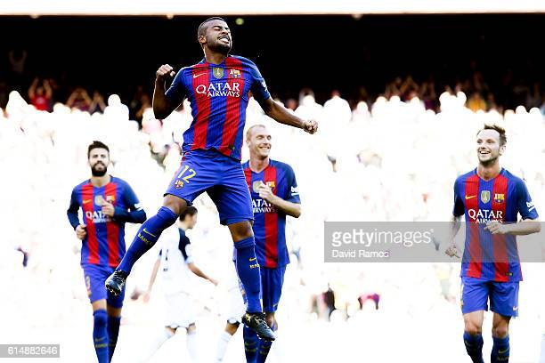 Rafinha Alcantara of FC Barcelona celebrates after scoring his team's second goal during the La Liga match between FC Barcelona and RC Deportivo La...