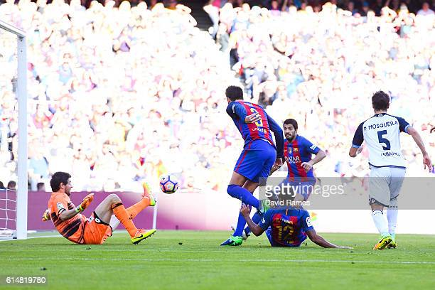 Rafinha Alcantara of FC Barcelona scores his team's second goal during the La Liga match between FC Barcelona and RC Deportivo La Coruna at Camp Nou...