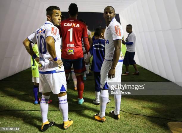Rafinha and Sassa of Cruzeiro enter to the field during a match between Vasco da Gama and Cruzeiro as part of Brasileirao Series A 2017 at Raulino de...