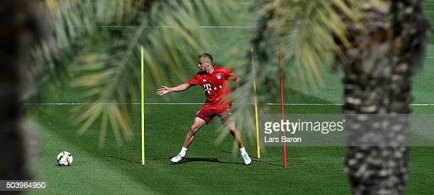 Rafinha in action during a training session at day three of the Bayern Muenchen training camp at Aspire Academy on January 8 2016 in Doha Qatar