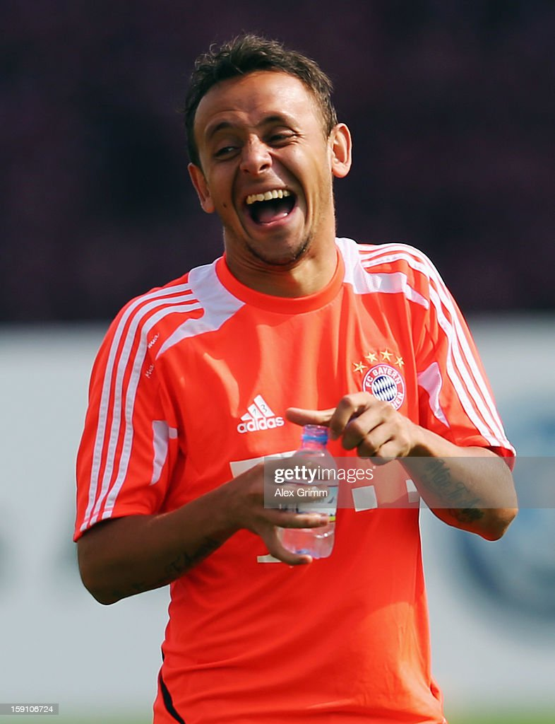 Rafinha laughs after a Bayern Muenchen training session at the ASPIRE Academy for Sports Excellence on January 8, 2013 in Doha, Qatar.