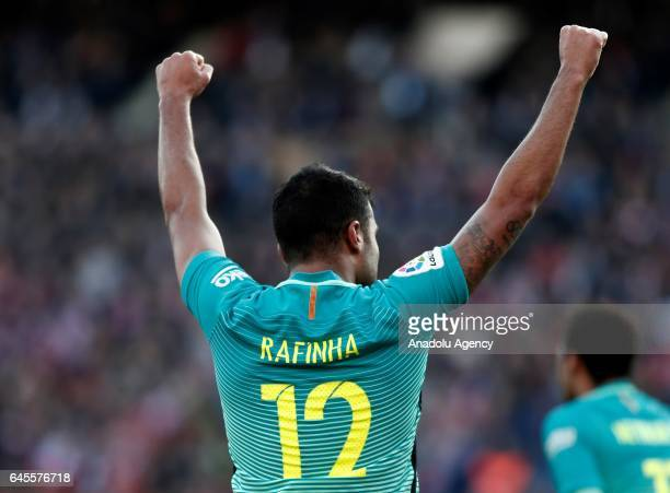 Rafinha of Barcelona celebrates his goal during the La Liga football match between Atletico Madrid and Barcelona at Vicente Calderon Stadium in...