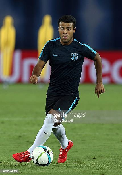 Rafinha of Barcelona in action during a training session ahead of the UEFA Super Cup match between Barcelona and Sevilla FC at Dinamo Stadium on...
