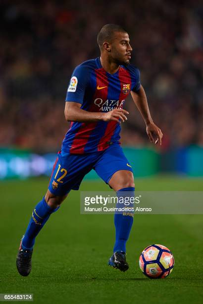 Rafinha of Barcelona runs with the ball during the La Liga match between FC Barcelona and Valencia CF at Camp Nou Stadium on March 19 2017 in...