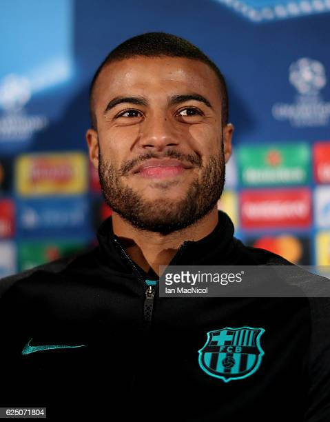 Rafinha of Barcelona speak to the media during the FC Barcelona press conference at Celtic Park Stadium on November 22 2016 in Glasgow Scotland