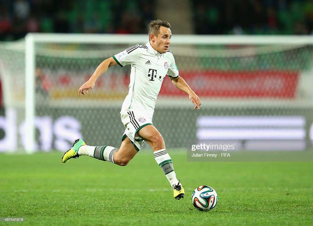 Rafinha of Bayern Muenchen in action during the FIFA Club World Cup Semi Final match between Guangzhou Evergrande FC and Bayern Muenchen at the Agadir Stadium on December 17, 2013 in Agadir, Morocco.
