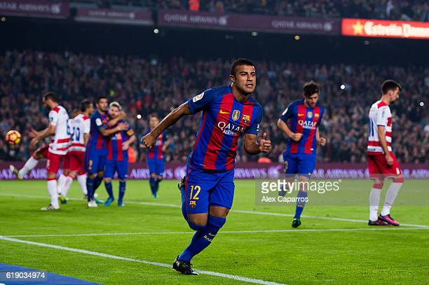 Rafinha of FC Barcelona celebrates after scoring the opening goal during the La Liga match between FC Barcelona and Granada CF at Camp Nou stadium on...
