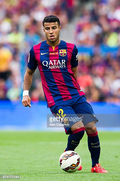 Rafinha of FC Barcelona controls the ball during the La Liga match between FC Barcelona and RC Deportivo La Coruna at Camp Nou on May 23 2015 in...