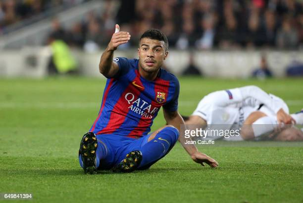 Rafinha of FC Barcelona gestures during the UEFA Champions League Round of 16 second leg match between FC Barcelona and Paris SaintGermain at Camp...
