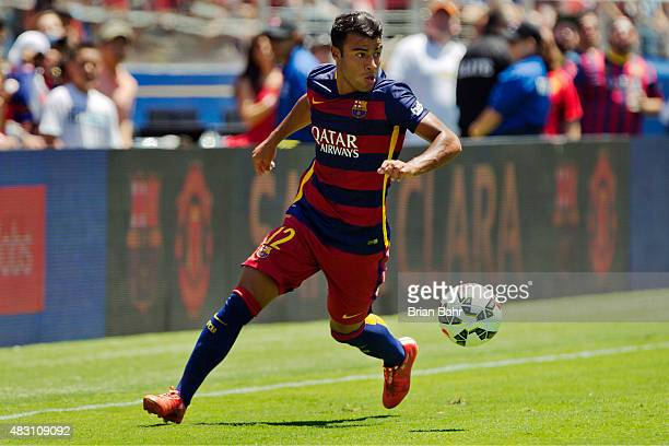 Rafinha of FC Barcelona lines up an attack against Manchester United FC in the first half during the International Champions Cup on July 25 2015 at...