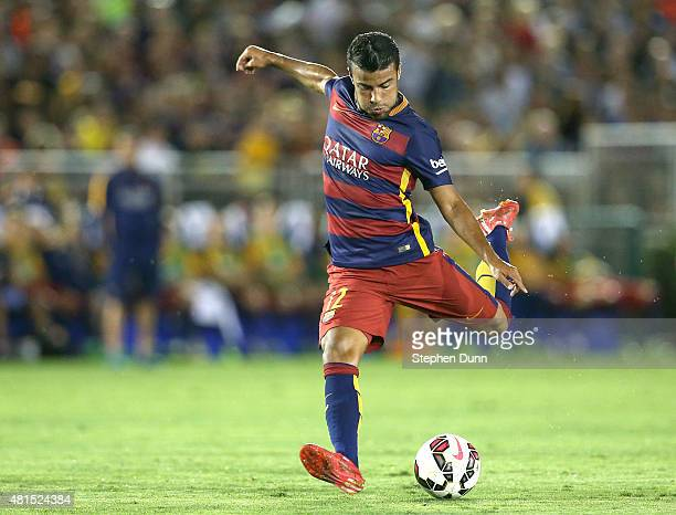 Rafinha of FC Barcelona takes a shot against the Los Angeles Galaxy in the International Champions Cup 2015 at Rose Bowl on July 21 2015 in Pasadena...