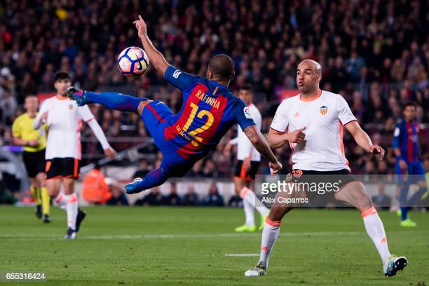Rafinha of FC Barcelona tries an overhead kick during the La Liga match between FC Barcelona and Valencia CF at Camp Nou stadium on March 19 2017 in...