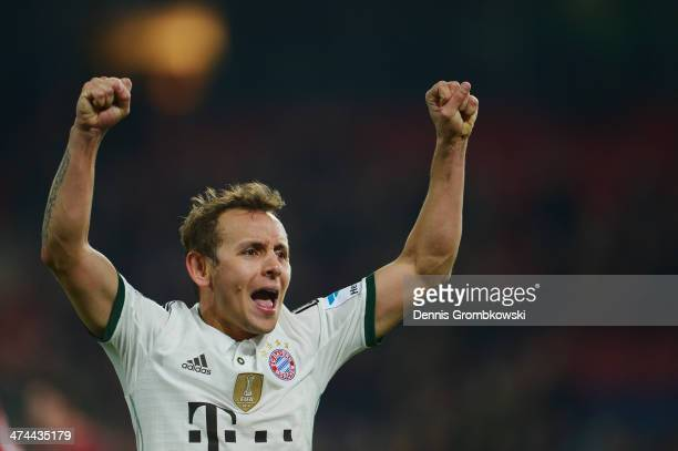 Rafinha of FC Bayern Muenchen celebrates after the Bundesliga match between Hannover 96 and FC Bayern Muenchen at HDIArena on February 23 2014 in...