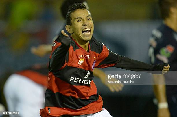 Rafinha of Flamengo celebrates a goal during the match between Flamengo and Remo as part of Brazil Cup 2013 at Raulino de Oliveira Stadium on April...