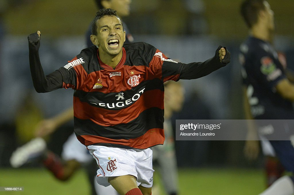 Rafinha of Flamengo celebrates a goal during the match between Flamengo and Remo as part of Brazil Cup 2013 at Raulino de Oliveira Stadium on April 17, 2013 in Rio de Janeiro, Brazil.