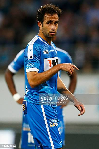 Rafinha of Gent looks on during the Jupiler League match between KAA Gent and KRC Genk held at the Ghelamco Arena on July 31 2015 in Gent Belgium