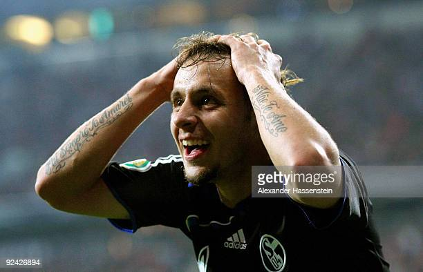 Rafinha of Schalke reacts during the DFB Cup round of 16 match between 1860 Muenchen and FC Schalke 04 at Allianz Arena on October 28 2009 in Munich...