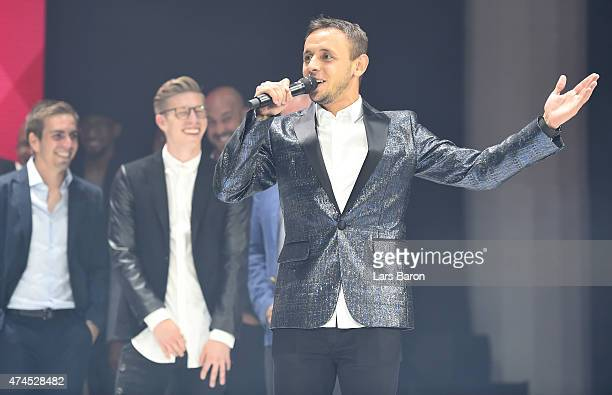 Rafinha performes on stage during the FC Bayern Muenchen Champions Dinner at Postpalast on May 23 2015 in Munich Germany