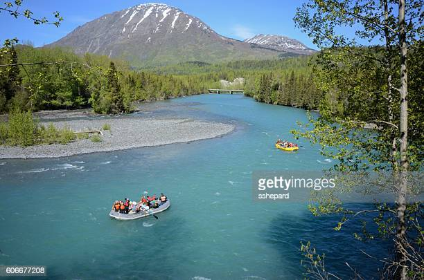 Rafters on the Russian River in Alaska