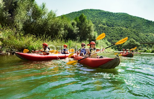 rafting calm water canoes : Stock Photo