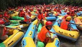 Rafting jam caused by a large number of rafts is seen on August 2 2014 in Sanmenxia Henan province of China