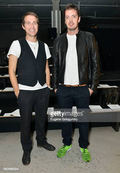 Rag and Bone designers David Neville and Marcus Wainwright at the Rag Bone Men's collection fall 2013 fashion show on January 30 2013 in New York City