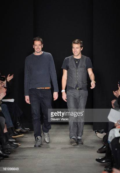 Rag Bone designers Marcus Wainwright and David Neville walk the runway at the Rag Bone Women's fall 2013 fashion show during MercedesBenz Fashion...