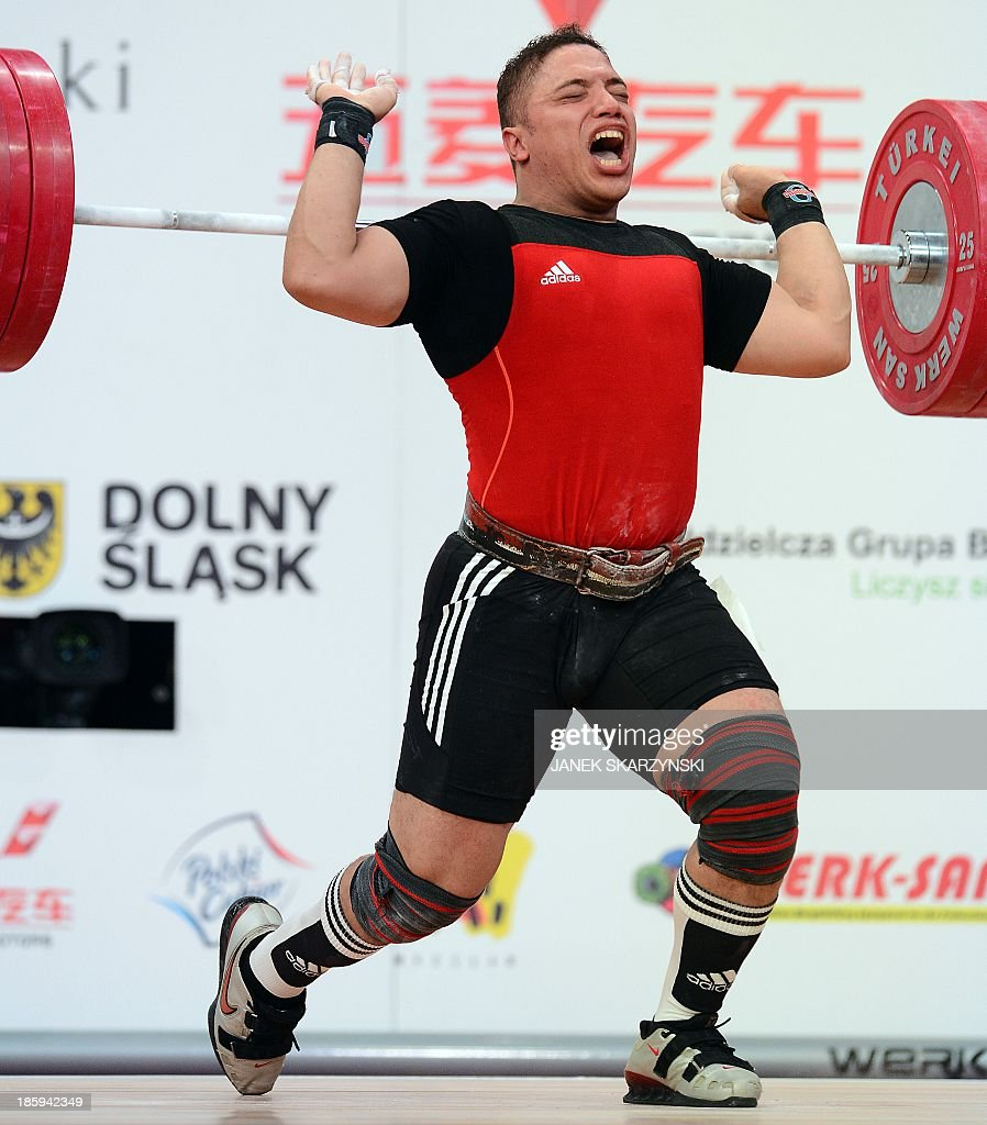 Ragab Abdel Hay Saad of Egypt competes in men's 94 kg weightlifting IWF World Championships at Centennial Hall in Wroclaw, Poland on October 26, 2013.