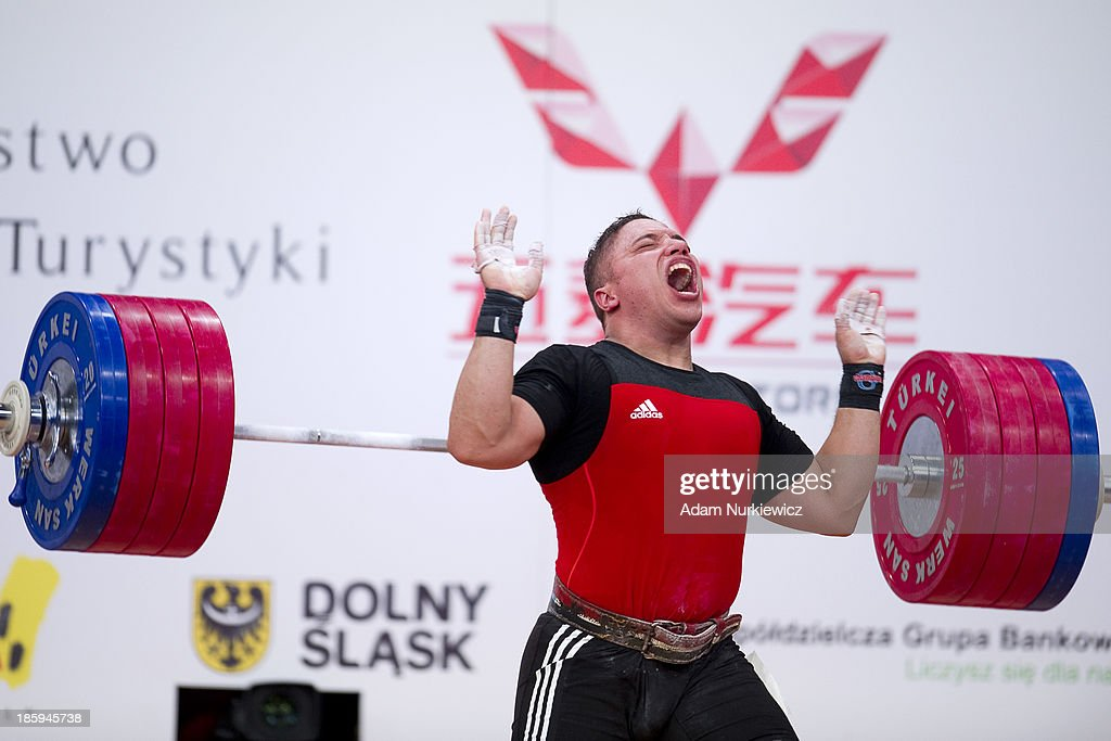 Ragab Adbel Hay Saad from Egypt failed his attempt in the Clean & Jerk competition men's 94 kg Group A during weightlifting IWF World Championships Wroclaw 2013 at Centennial Hall in Wroclaw on October 26, 2013