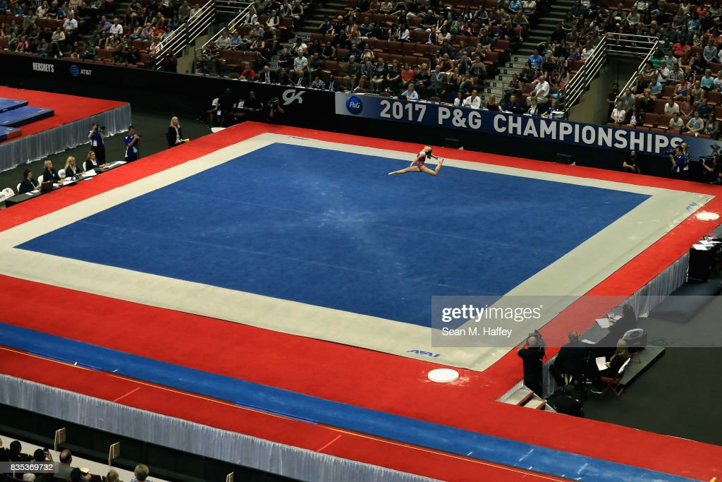Ragan Smith competes in the Floor Exercise during the P&G Gymnastics Championships at Honda Center on August 18, 2017 in Anaheim, California.