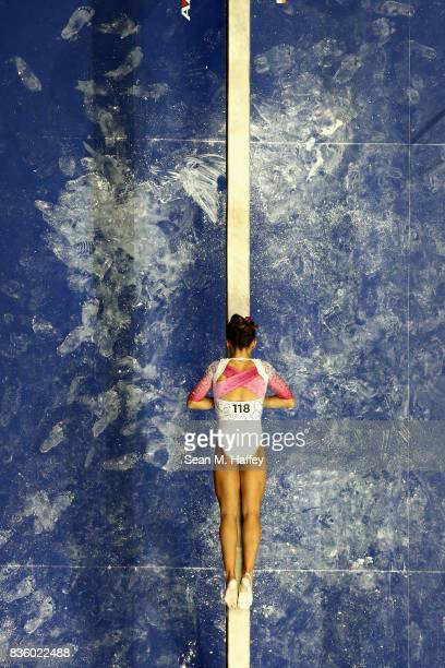 Ragan Smith competes on the Balance Beam during the PG Gymnastics Championships at Honda Center on August 20 2017 in Anaheim California