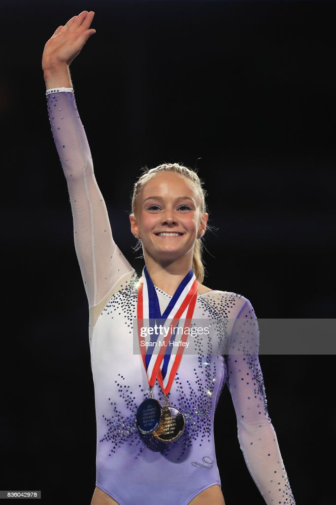 Ragan Smith waves to the crowd during the awards ceremony for the P&G Gymnastics Championships at Honda Center on August 20, 2017 in Anaheim, California. Ragan Smith won Women's All-Around Gold.
