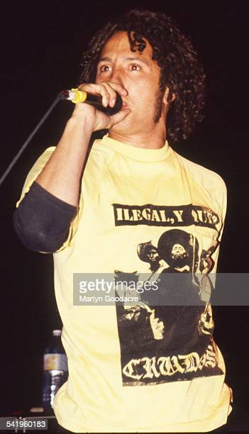 Rage Against The Machine singer Zack De La Rocha performs on stage at Brixton Academy London United Kingdom 1993