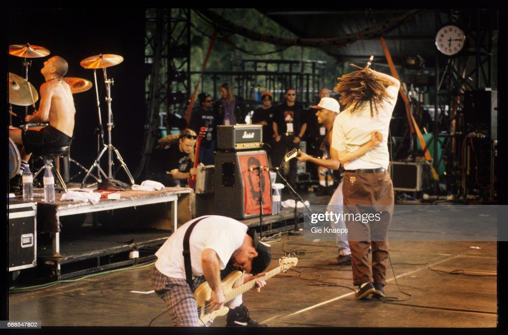 Rage Against The Machine, Zack De La Rocha, Tim Commerford,, Brad Wilk, Tom Morello, Pukkelpop Festival, Hasselt, Belgium, .