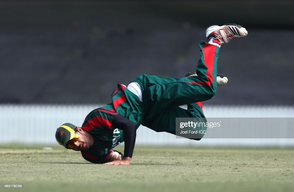 Raghheb Aba of Kenya makes a catch off the batting of Nicolaas Scholtz (not pictured) during an ICC World Cup qualifying match between Namibia and Kenya on January 17, 2014 in Mount Maunganui, New Zealand.