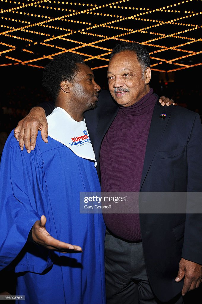 Raghib Ismail (L) and reverend Jesse Jackson at the Super Bowl Gospel Celebration 2014 at The Theater at Madison Square Garden on January 31, 2014 in New York City.