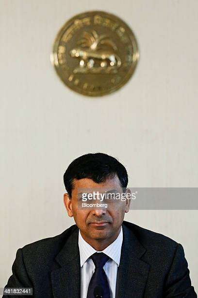 Raghuram Rajan governor of the Reserve Bank of India attends a news conference at the central bank's headquarters in Mumbai India on Tuesday April 1...