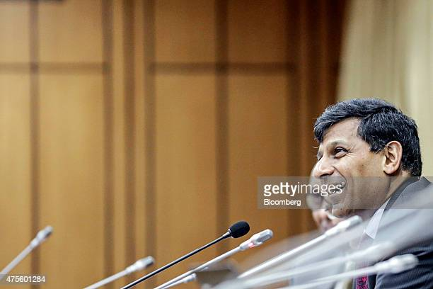 Raghuram Rajan governor of the Reserve Bank of India reacts during a news conference at the central bank's headquarters in Mumbai India on Tuesday...