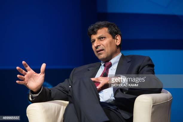 Raghuram Rajan Governor of the Reserve Bank of India speaks during a discussion entitled 'The New Normal in Asia Will Growth Inevitably Slow' at the...