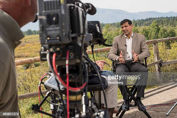 Raghuram Rajan governor of the Reserve Bank of India speaks during a Bloomberg Television interview during the Jackson Hole economic symposium...