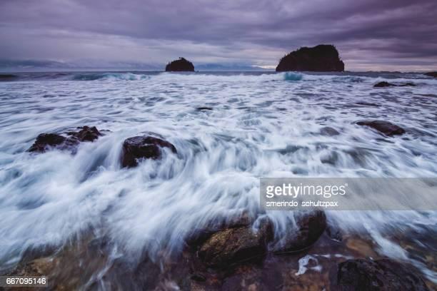 Raging waves along the coastline of Baler, Aurora Province.